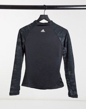 Черный спортивный топ с высоким воротником adidas Training performance
