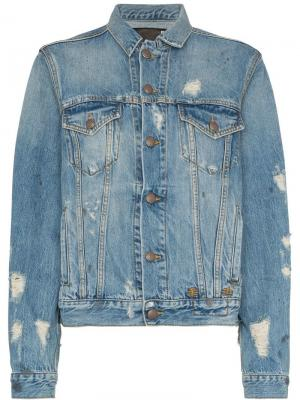 Джинсовая куртка с дырками R13. Цвет: синий