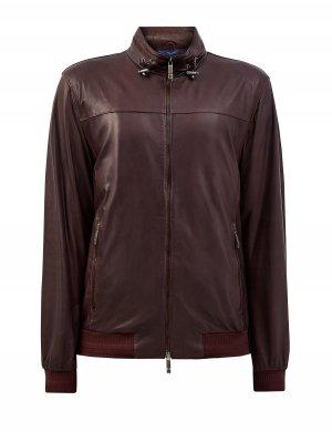 Куртка из матовой мелкозернистой кожи в байкерском стиле ETRO. Цвет: коричневый