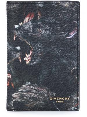 Визитница с принтом бабуинов Givenchy. Цвет: чёрный