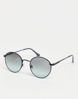 Круглые солнцезащитные очки в черной оправе с зелеными стеклами -Черный Jeepers Peepers