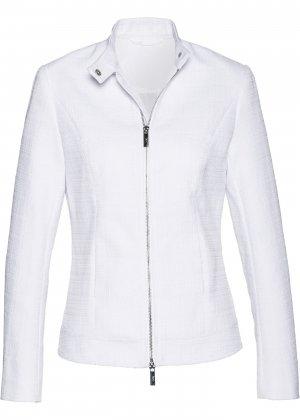Куртка из материала букле, байкерский дизайн bonprix. Цвет: белый