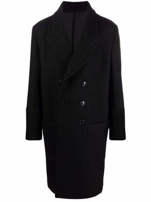 Двубортное пальто AMI Paris. Цвет: черный