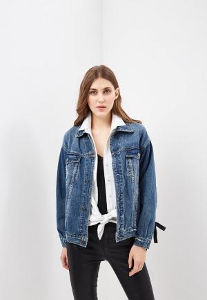 Куртка джинсовая Softy SO017EWAVXW5. Цвет: синий