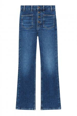 Синие расклешенные джинсы на пуговицах Maje. Цвет: синий