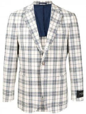 Однобортный пиджак в клетку Man On The Boon.. Цвет: белый