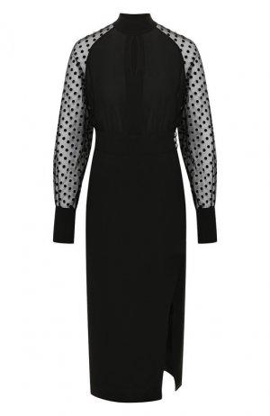 Шелковое платье Balmain. Цвет: черный