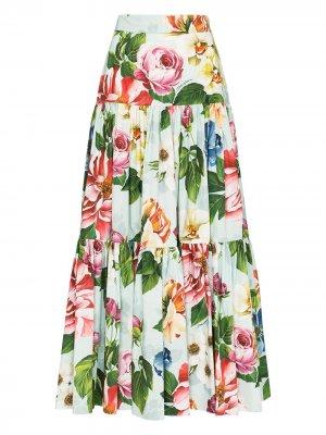 Ярусная юбка макси с цветочным принтом Dolce & Gabbana. Цвет: зеленый