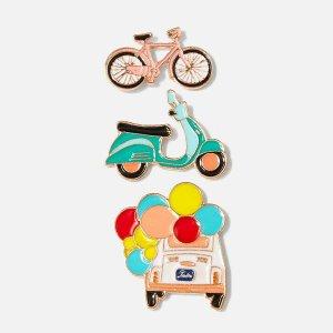 Набор брошки с украшением велосипеда и машины 3 шт SHEIN. Цвет: многоцветный