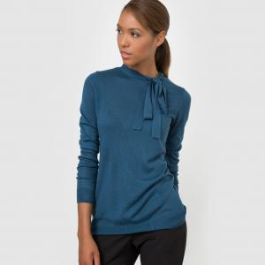 Пуловер с завязками из смешанной ткани шерстью La Redoute Collections. Цвет: сине-зеленый