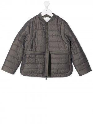 Tie-waist puffer jacket Brunello Cucinelli Kids. Цвет: серый