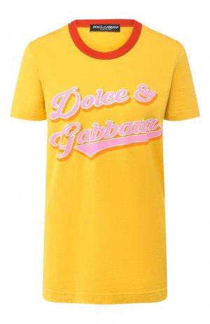 Хлопковая футболка Dolce & Gabbana. Цвет: желтый