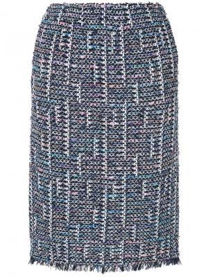 Твидовая юбка-карандаш COOHEM. Цвет: синий
