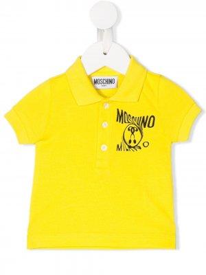 Рубашка-поло с логотипом Moschino Kids. Цвет: желтый