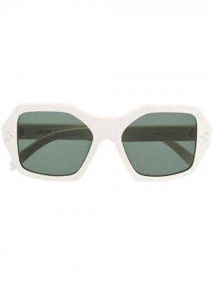 Солнцезащитные очки в квадратной оправе Celine Eyewear. Цвет: белый