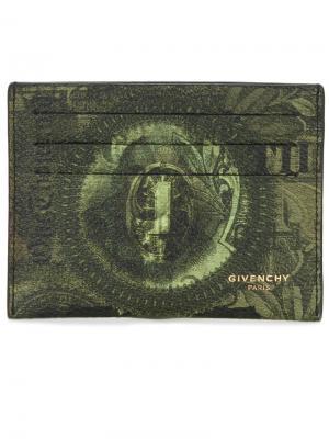 Визитница с принтом доллара Givenchy. Цвет: зелёный