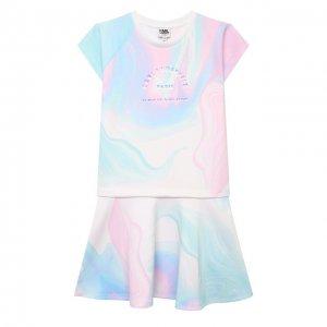 Платье Karl Lagerfeld Kids. Цвет: белый