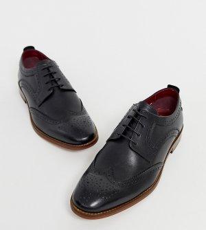 Черные кожаные броги для широкой стопы -Черный Base London