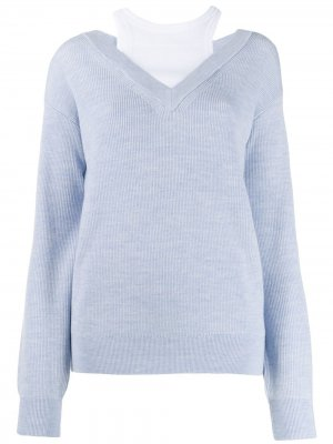 Многослойный свитер T By Alexander Wang. Цвет: синий