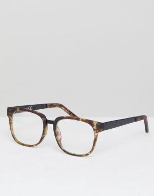Квадратные очки с прозрачными стеклами в черепаховой оправе River Isla Island. Цвет: зеленый