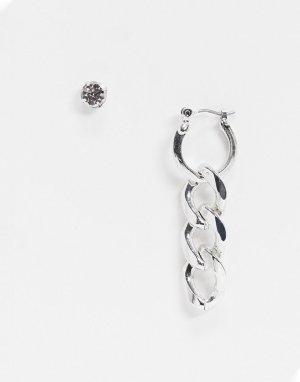 Серебристые сережки в форме гвоздика и кольца с подвеской-цепочкой -Серебристый WFTW