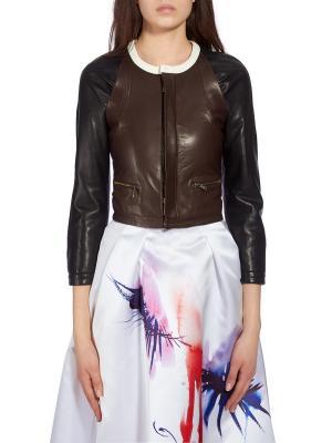 Кожаная куртка DSQUARED2. Цвет: коричневый