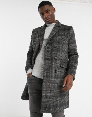 Двубортное пальто в клетку -Серый French Connection