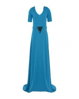 Длинное платье PINKO. Цвет: лазурный