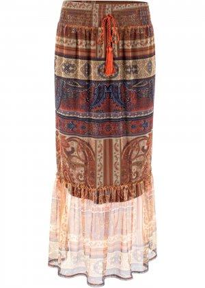 Макси-юбка со вставкой из сеточки bonprix. Цвет: бежевый