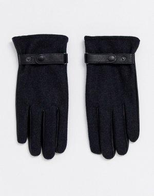 Черные кожаные перчатки для сенсорных экранов -Серый ASOS DESIGN