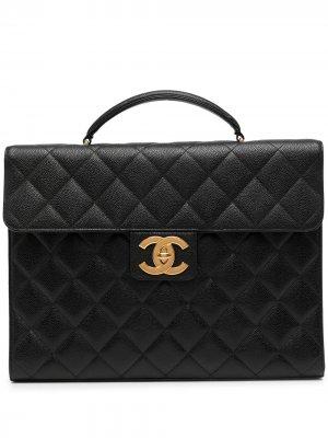 Стеганый портфель 1997-го года с логотипом CC Chanel Pre-Owned. Цвет: черный