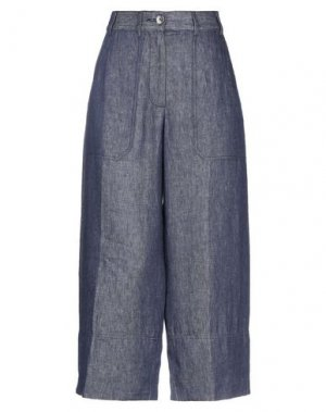 Джинсовые брюки-капри MESSAGERIE. Цвет: синий