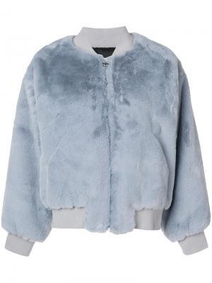 Fur bomber jacket Chiara Ferragni. Цвет: синий
