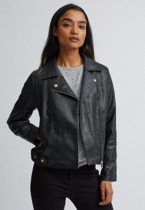 Куртка кожаная Dorothy Perkins Petite. Цвет: черный