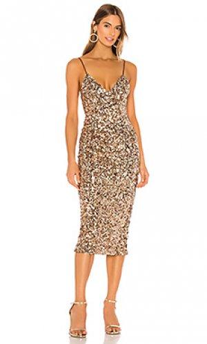 Платье миди faye Shona Joy. Цвет: металлический золотой