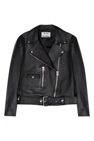 Черная кожаная куртка Acne Studios. Цвет: черный