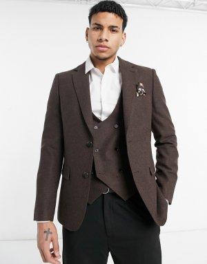 Пиджак узкого кроя из ткани с добавлением шерсти Wedding-Коричневый цвет Harry Brown