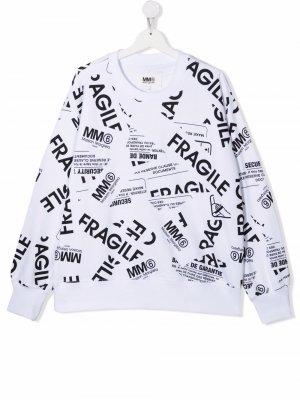 TEEN Fragile-print cotton sweatshirt MM6 KIDS. Цвет: белый