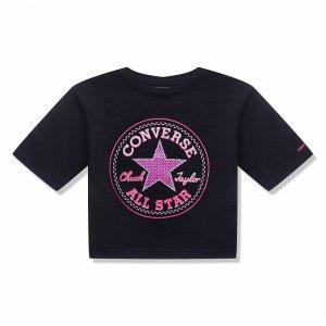 Star Faux Sequin Boxy Tee Converse. Цвет: черный