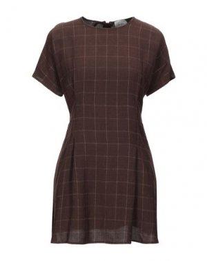 Короткое платье ALYSI. Цвет: темно-коричневый