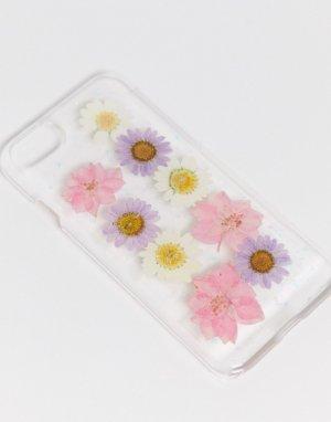 Чехол для iPhone 6/7/8 с отделкой цветами -Розовый Monki