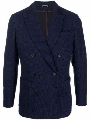 Двубортный пиджак из шерсти Canali. Цвет: синий