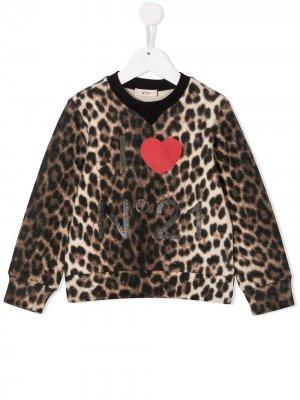 Толстовка с логотипом и леопардовым принтом Nº21 Kids. Цвет: коричневый