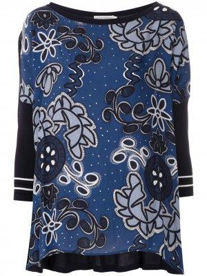 Трикотажная блузка Kimora с принтом Martha Medeiros. Цвет: синий