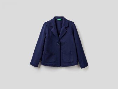 Пиджак с оборкой на спине Benetton. Цвет: синий