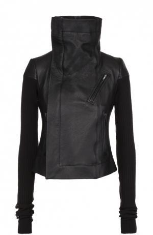 Кожаная куртка с вязаными рукавами и косой молнией Rick Owens. Цвет: черный