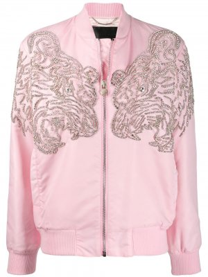 Декорированный бомбер Philipp Plein. Цвет: розовый