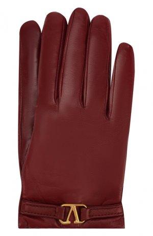 Кожаные перчатки Garavani Valentino. Цвет: красный