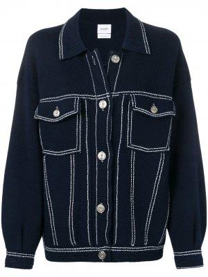 Джинсовая куртка с декоративной строчкой Barrie. Цвет: синий