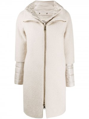 Пальто миди с дутыми вставками Herno. Цвет: нейтральные цвета